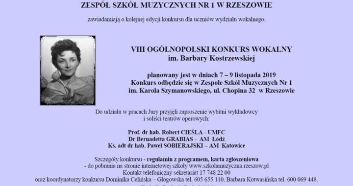 UWAGA!!! VIII OGÓLNOPOLSKI KONKURS WOKALNY im. Barbary Kostrzewskiej